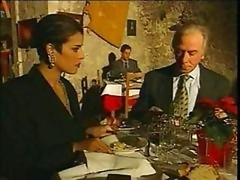 Elegant Italian Old cheating husband on restaurant