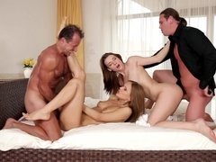 Group of people is having an intense orgy in front of the camera lens