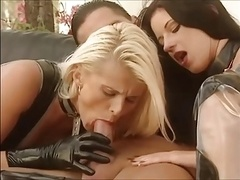Gals in latex outfit fucked