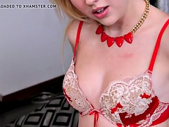Wild blonde gets spit all over her face and throat fucked