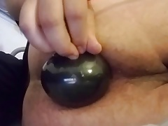 Using inflatable butt plug, double anal prep