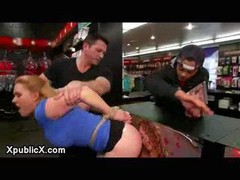 Large jugs blonde gets restrained up & plus spanked & plus groped by strangers in pornography store then mouth & plus asshole fucked &