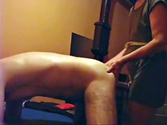 Mistress strap-on fucks her husband and canes him at home!