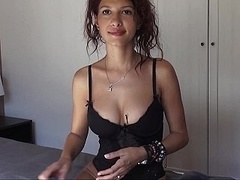 Flirty broad with perky natural tits spreading on a webcam