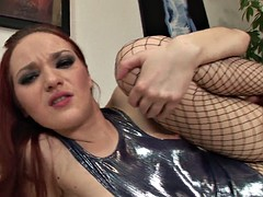 Slutty Redhead With Fishnets Banged In Ass