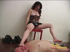 Foxy brunette looker tramples all over a hung dudes pierced