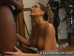 Hot Sexually available mom in glasses deepthroating black part4