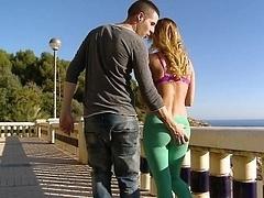 Splendid Aleska having sex out in the open air