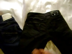 Cum over two jeans of my girlfriends female friend