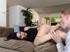Footworshiped babe assfucked passionately