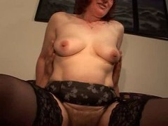 Unshaved Grown-up Redhead In Glasses And besides Stockings Fucks