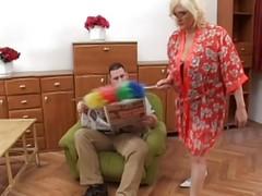 Granny Gets Cum On Her Glasses