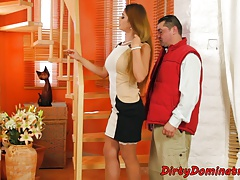 Beautiful dominatrix jizzed on after punishment
