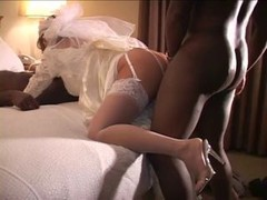 Cuckold wedding night with a couple of black fuck tools