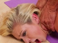 A blonde that loves cock is bending over in the doggy style scene