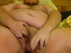 Fat FTM bear dildos both holes