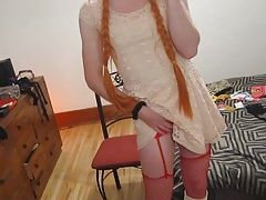 Crossdressed gurly fooling with her rock hard clit