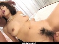 Busty Azumi Harusaki works cock like a real goddess