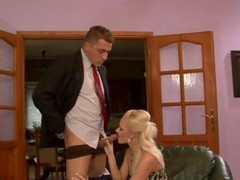 Clothed fetish stocking delicate bitch enjoys blowjob & bang action with a lucky fella