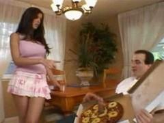 Huge Sausage Pizza - Shy Adore Brunette Pink Skirt Trimmed