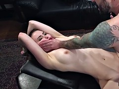 Tied up brunette flogged and anal banged
