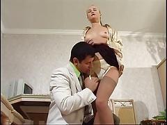 Nylon legjob and cum between her legs