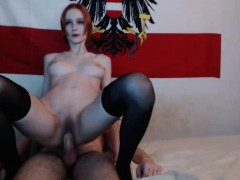 Sexy redhead getting a big cock in deep
