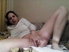 Doggystyle tight pussy masturbation from behind