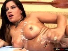 Black hair cock girl slides her fingers deep in ass and cums
