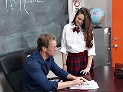 Teen schoolgirl has sex with the teacher in the classroom