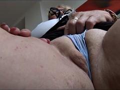 Mature English secretary with massive tits stripping