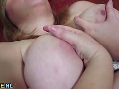 British BBW fingering and toying herself on a sofa
