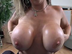 Tittyfucked milf beauty sucks cock in pov