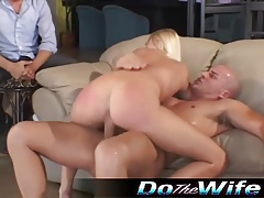 Husband watches blonde wife fuck another guy