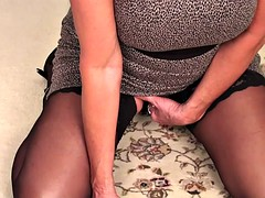 Mom With Stockings In Solo Action