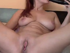 Busty rides a dildo front the webcam