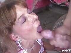 Sexy Busty Granny in the barn