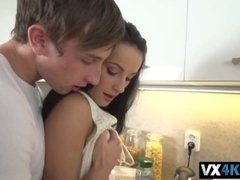 Czech babe Lexi Dona making love with her boyfriend in the kitchen