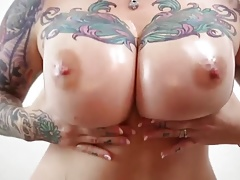 Beatifull tattooed big boobs with oil and spit