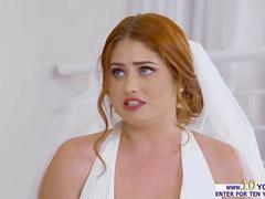 Nasty ginger bride has a wild fuck session on her wedding day