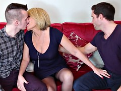 Two sons sharing and cum on sexy mother