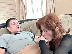 Naughty maid Brooklyn Lee is bouncing on a stiff cock
