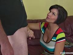 Mature Brunette Gives Nice Titjob And Handjob