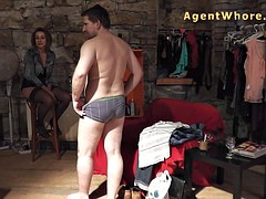 Reversed casting - slovak guy gets blowjob from redhead MILF