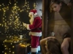 Santa fucks petite body teen from her ass to her mouth