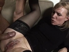 Female in black gets her holes fucked and plus creamed