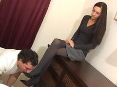 nylon feet licking
