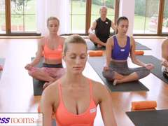 FitnessRooms Gang yoga session finishes with a sweaty creampie