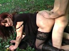 Check My MILF Busty mature in stockings public place BJ sex