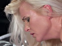 Super hot blonde mom in lingerie bangs